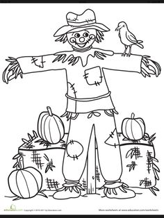 The scarecrow on this coloring page doesn't really seem to be doing his job—instead of scaring the crows away, he's giving them a friendly smile! Your child will smile, too, as he gives color to this adorable scarecrow coloring page. Thanksgiving Coloring Pages, Fall Coloring Pages, Coloring Pages For Kids, Coloring Sheets, Coloring Books, Scarecrow Crafts, Fall Scarecrows, Autumn Art, Autumn Theme