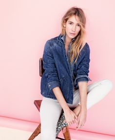 J.Crew women's western chambray shirt in vintage indigo, denim swing jacket in Stanmore wash, Toothpick jean in ecru denim, and palm-print tassel loafers.