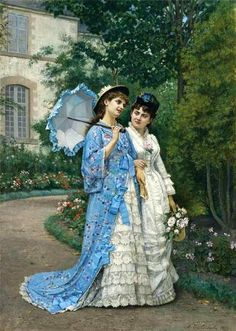 "Touch of ""Japonism""--kimono-syle wrap/   (""A Garden Stroll"" - Auguste Toulmouche, 1877)"