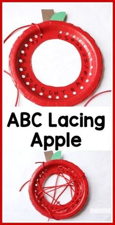 Lacing Alphabet Apple Craft ABC Lacing Plates Activity - this is such a fun, clever fall activity for kids to practice their alphabet (preschool, prek, kindergarten, first grade) Preschool Apple Theme, Preschool Classroom, Preschool Learning, Kindergarten Activities, Kindergarten Age, Preschool Apple Activities, Preschool Apples, Teaching, Apple Crafts For Preschoolers