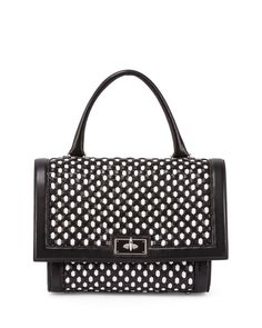 Givenchy Shark Small Bicolor Woven Satchel Bag in Black & White $2179 (was $3640)