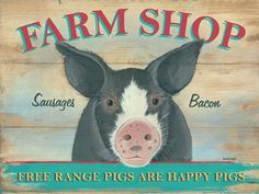 "Farm Shop Metal Sign by OMSC. $19.50. Eco-friendly process, hand-made in the USA. Ships in Ploy-bag for complete protection. Rounded corners with holes for easy hanging. Glossy, full-color, enamalized imaged baked onto thick, 24-gauge steel. This sign measures 16"" by 12"". This sign measures 16"" x 12"". Featuring art by Martin Wiscombe. Born and raised in Lyme Regis, Dorset, Martin studied illustration and design in the west country, then went on to spend more than 15 year..."