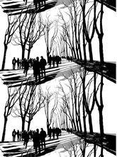 Vallila curtain Promenadi black and white
