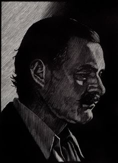 Portrait of Ernest Hemingway, engraving by Barry Moser | R. Michelson Galleries