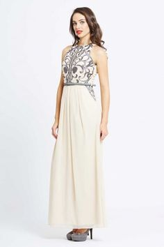Little Mistress Cream Heavily Embellished Maxi Dress - Little Mistress from Little Mistress UK