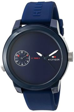 Tommy Hilfiger Men's 'Denim' Quartz Plastic and Rubber Automatic Watch, Color:Blue (Model: 1791325)