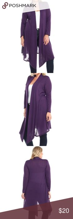 JUST INEggplant Duster Long cardigan/Duster/sweater✨ flowy and comfy material Ships 1-2 business day, I AM A FAST SHIPPER: 1.2 DAYS!! YES, these are the real pictures of the duster  Sizes available in PLUS BRAND NEW merchandise only  MADE IN USA!  Add it to bundle to save more  Sweaters Cardigans