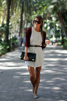 Off white dress with belt and maroon cardigan