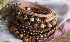 Set of 5 Boho Floral Soul Wrap Stretch Bracelets by ByLEXY on Etsy