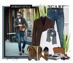 """""""Street style men scarf"""" by goreti ❤ liked on Polyvore featuring Jack & Jones, Boglioli, 21 Men, Mulberry, Brooks Brothers, Ray-Ban, Reef, Marc by Marc Jacobs, StreetStyle and TrickyTrend"""