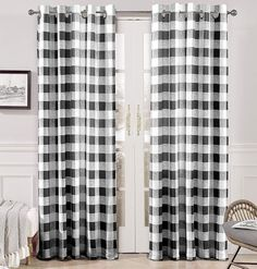 New DriftAway Buffalo Checker Pattern Lined Thermal Insulated Blackout Room Darkening Grommet Window Curtains Printed Plaid 2 Layer Set 2 Panels 52 Inch 84 Inch Black online shopping - Findtopbrandsgreat Curtains Living Room, Black Curtains, Trendy Home Decor, Panel Curtains, Home Decor, Curtains, Room Colors, White Curtains, Buffalo Checker