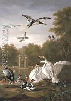 Pieter Casteels III:A park with swans, ducks and other birds by a pond