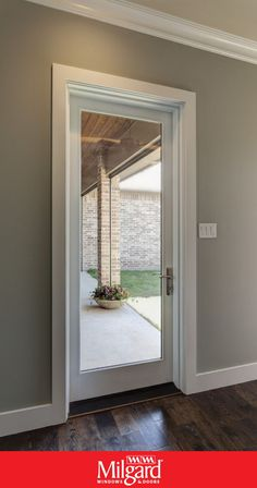 Not enough room for French patio doors? Try a single white fiberglass patio door. - Not enough room for French patio doors? Try a single white fiberglass patio door with large glass pa - Single Patio Door, Kitchen Patio Doors, Single French Door, Bedroom Door Decorations, Exterior Doors With Glass, Exterior Patio Doors, French Doors Patio, French Patio, Up House