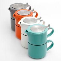 Love this color range. Aqua + Orange = Love! Tea for One Brewing Set $29 @Poketo