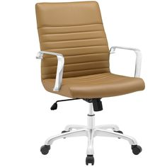 Modern Ribbed Adjustable Mid Back Office Chair in Tan
