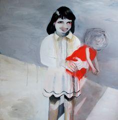 "Saatchi Online Artist: Hanna Ilczyszyn; Acrylic 2011 Painting ""Girl with a doll"""