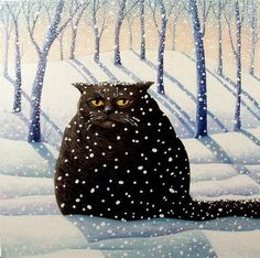 'Winter cat painting' -by Yolande Salmon-Duval
