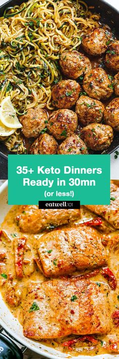 Keto Dinners You Can Make in 30 Minutes or Less – Perfect for helping you get in shape and free up your time in the kitchen! Keto Dinners You Can Make in 30 Minutes or Less – Perfect for helping you get in shape and free up your time in the kitchen! Ketogenic Recipes, Low Carb Recipes, Diet Recipes, Cooking Recipes, Healthy Recipes, Cooking Ribs, Diet Meals, Keto Foods, Snacks