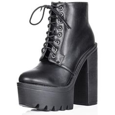 HOLLY Chunky Sole Ankle Boots Shoes - Black Synthetic Leather