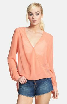 Wayf Chiffon Wrap Blouse available at #Nordstrom