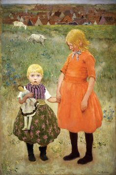 """The Sisters,"" Gari Melchers, ca. 1895, oil on canvas, 59 x 39 ½"", National Gallery of Art, Washington, D.C."