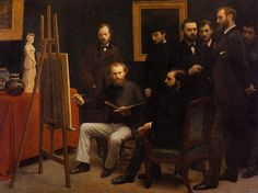 The Athenaeum - FANTIN-LATOUR, Henri  French Realist (1836-1904)_A Studio on the Batignolles - circa 1870 [in homage to Manet, who appears sitting, painting Zacharie Astruc, who gave great support to the group of Impressionists. Standing behind Manet, German painter Otto Schölderer. next to him in a hat is Renoir. Writer Emile Zola and Edmond Maitre also great supporters of the Impressionists. In profile is the painter Frédéric Bazille, and finally, almost hidden in the corner Monet]