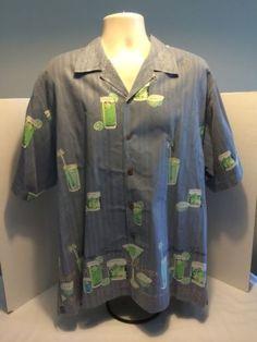 Tommy-Bahama-Mens-Sz-L-Silk-Hula-Girl-Hawaiian-Colada-Cocktail-Button-Shirt-EUC