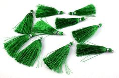 "10 Pcs Beautiful Green Color Silk Tassel Beautiful Necklace Making Link 2"" Long"
