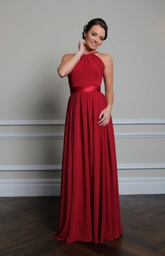 SABRA Beautifully made from chiffon with a satin waistband, this dress is floor-length with a high neckline with thin straps that carry on down the back to the bodice. Only £135