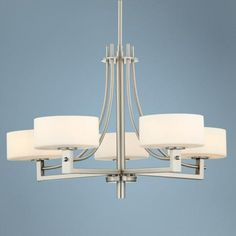 Possini Euro Frosted White Glass 5-Light Chandelier | LampsPlus.com