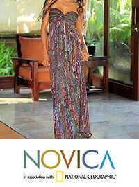 look great & donate-Rayon batik dress, 'Bali Empress' at The Animal Rescue Site