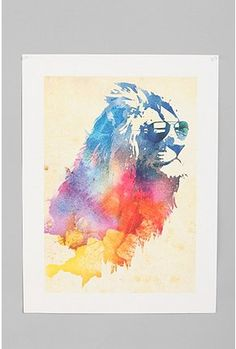 watercolor lion in sunglasses. dunno why, but i love it. Love to print it and hang above a mantle or something lol
