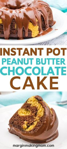 This peanut butter chocolate bundt cake starts with a box of cake mix then is baked in the Instant Pot Topped with a chocolate peanut butter glaze it s a decadent dessert instantpot chocolatecake Chocolate Bundt Cake, Chocolate Banana Bread, Chocolate Peanut Butter, Chocolate Recipes, Cake Mix Desserts, Cake Mix Recipes, Easy Desserts, Dessert Recipes, French Desserts