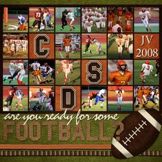 I really like EVERYTHING about this - (multiple action photos, little squares, colors, and especially the lively font that makes me think of an all-out scrimmage! School Scrapbook, Kids Scrapbook, Scrapbook Paper Crafts, Scrapbook Cards, Graduation Scrapbook, Paper Crafting, Scrapbook Sketches, Scrapbook Page Layouts, Creative Memories
