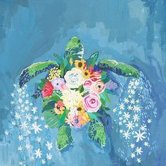 'Flora and Sea Turtle' Acrylic Painting Print If you're too shy, just cover your shell with beautiful flowers! This turtle speaks of florals and they love it. Shop this 'Flora and Sea Turtle' Acrylic Painting Print, more delightfully feminine animal art. Acrylic Painting Canvas, Painting Prints, Canvas Art, Art Prints, Acylic Painting Ideas, Acrylic Painting Animals, Sea Turtle Painting, Sea Turtle Art, Sea Turtles