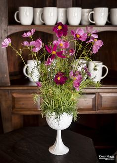 Know someone who loves wildflowers? Send a beautiful arrangement of Oklahoma Cosmos in a vintage milk glass container.