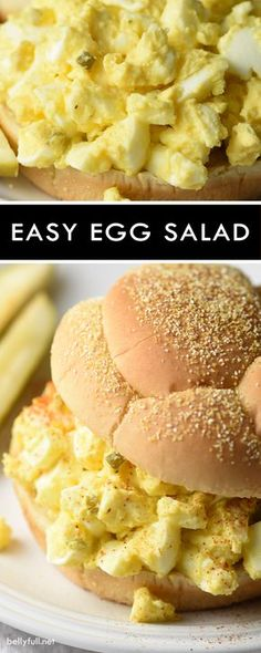 Healthy Recipes This easy egg salad is super simple and creamy delicious! A must at any summer BBQ, picnic, or get together. - This easy egg salad is super simple and creamy delicious! A must at any summer BBQ, picnic, or get together. Egg Recipes, Lunch Recipes, Dinner Recipes, Cooking Recipes, Healthy Recipes, Salad Recipes, Cooking Fish, Burger Recipes, Grilling Recipes