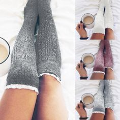 Lace Top Cable Knit Over-the-Knee Boot Socks