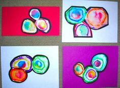 Fine Lines: Twisted Circles -kinder printmaking, color mixing?