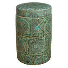 Nils Thorsson for Royal Coppenhagen - Decorative Ceramic Jar | A glazed stoneware jar with a geometric, abstract design in relief. Designed by Nils Thorsson for Royal Copenhagen. Marked accordingly.