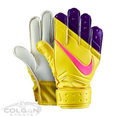 Nike Goal Keeper Junior Gloves: GK JR Match football gloves from Nike are designed to perfection to give you the best of performance during training sessions. These coloured goalkeeper gloves not only provide superb impact-resistance, but also promise good comfort, cushioning and durability because of the PU (polyurethane) make. Now available at Colgan Sports