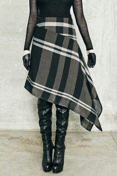 Dica de costura de fifia saia assimetrica inspirao free pattern for knit and sew eyelet dress Look Fashion, Skirt Fashion, Diy Fashion, Ideias Fashion, Winter Fashion, Fashion Outfits, Womens Fashion, Fashion Design, Fashion Beauty