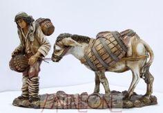 Pastore con asino e botte in Terracotta - 2053PG