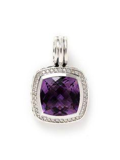 Estate Jewelry David Yurman 14mm Amethyst & Diamond Cushion Enhancer