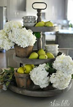 Kitchen Decor Weathered Gray Tiered Fruit and Flower Stand - Farmhouse kitchen design tugs at the heart as it lures the senses with elements of an earlier, simpler time. See the best decoration ideas! Farmhouse Kitchen Decor, Rustic Farmhouse, Farmhouse Design, Italian Farmhouse Decor, Italian Kitchen Decor, Country Kitchen, Urban Farmhouse, Italian Country Decor, Farmhouse Budget