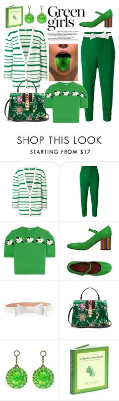 """Green Girls"" by sarina-noel ❤ liked on Polyvore featuring Green Girls, Loewe, Marni, Miu Miu, Missoni, Alaïa, Gucci, Color My Life, GREEN and fall2017"