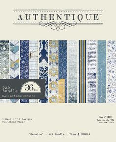 """6x6 double sided paper bundle from Authentique Paper's new denim-inspired """"Genuine"""" collection."""
