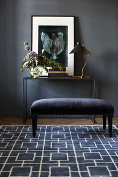 Classic Collection, a Stockholm based interior brand producing handmade rugs and other textiles in India. Design Entrée, Dark Walls, Elegant Homes, Classic Collection, Cool Rugs, Decoration, Interior Inspiration, Decorating Your Home, Lounge
