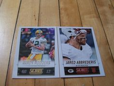 AARON-RODGERS-JARED-ABBREDERIS-RC-2014-Score-Green-Bay-Packers-2-Base-Card-Lot #GreenBayPackers