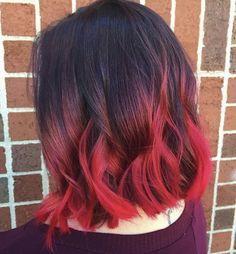 ruby rose hair, hair color asian и long hair Hair Color Asian, Red Hair Color, Cool Hair Color, Asian Red Hair, Red Balayage Hair, Red Ombre Hair, Dip Dye Hair Brunette, Red Dip Dye Hair, Deep Red Hair